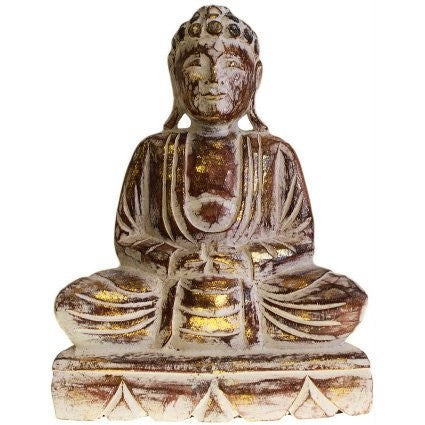 Sitting Wooden Carved Buddha Statue - 30 cm