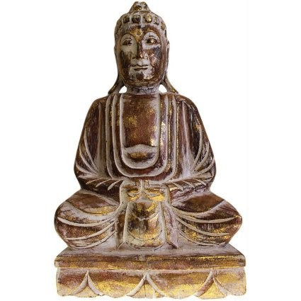Sitting Wooden Carved Buddha Statue - 40 cm