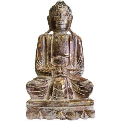 Sitting Wooden Carved Buddha Statue - 50 cm