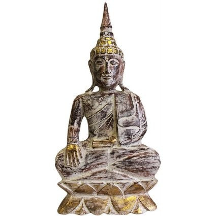 Earth Touching Wooden Carved Buddha Statue
