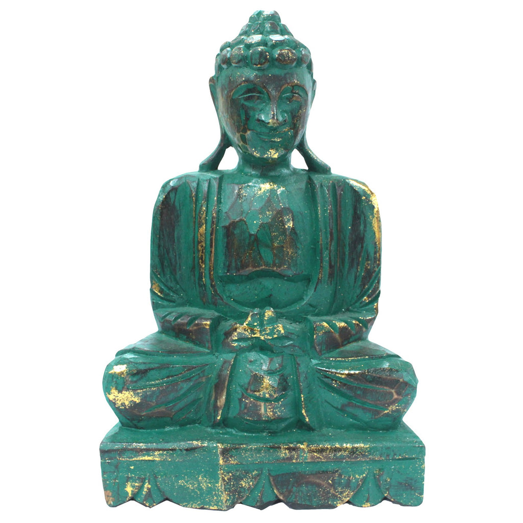Meditating Wooden Carved Buddha Statue - Teal