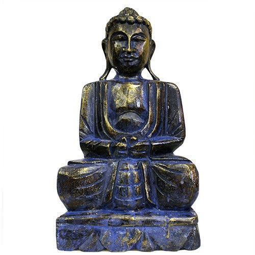 Meditating Wooden Carved Buddha Statue - Blue Golden