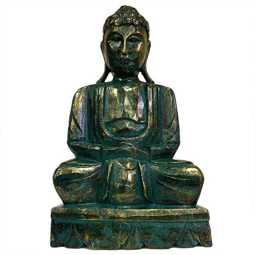 Meditating Wooden Carved Buddha Statue - Green Golden