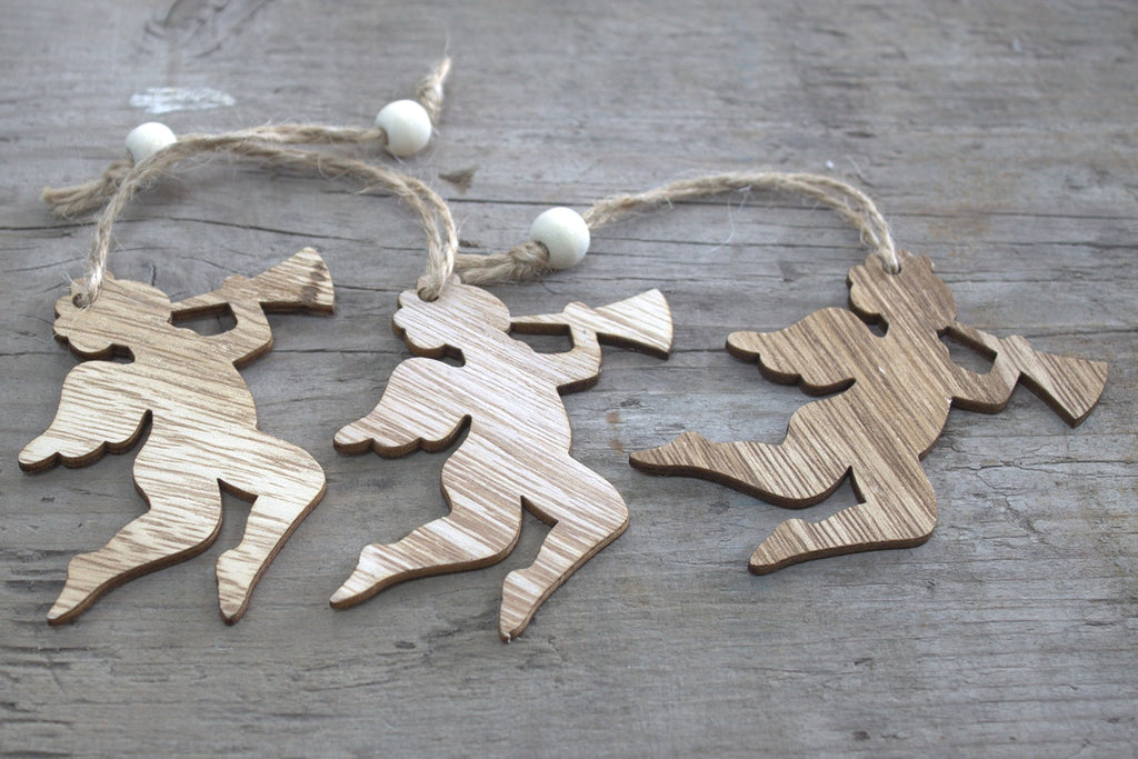Christmas Wooden Craft Decorations - Cherub (Set of 3)