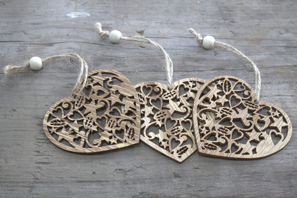 Christmas Wooden Craft Decorations - Décor Heart (Set of 3)