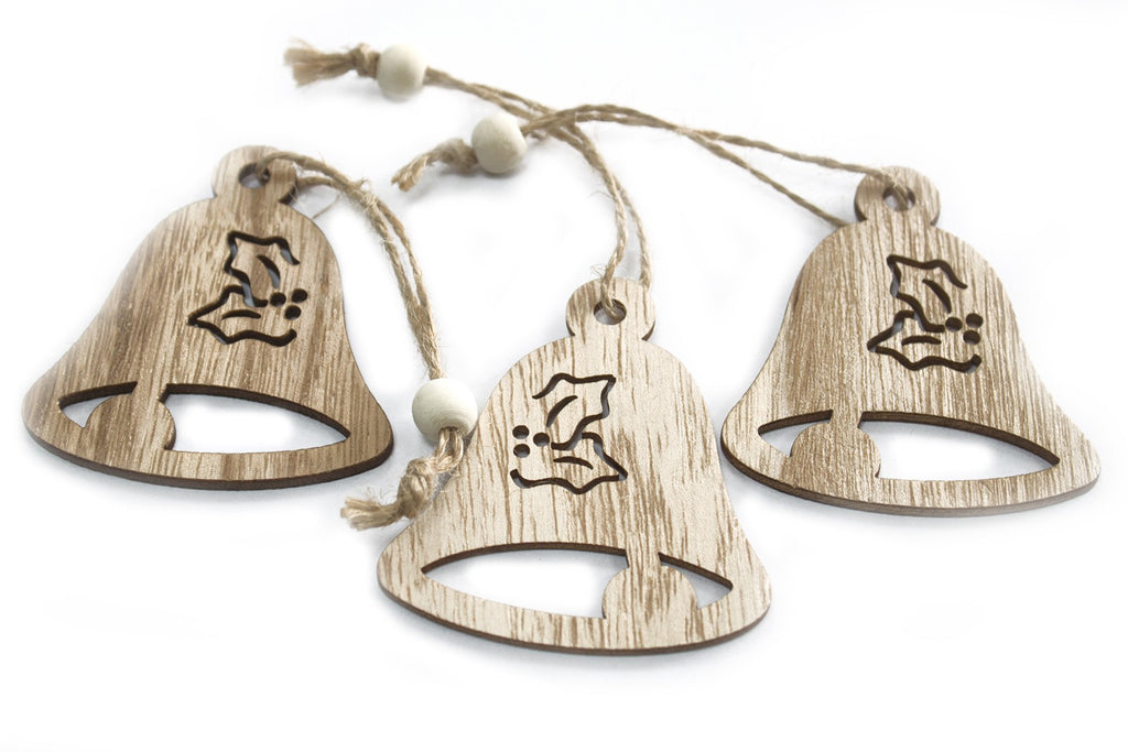 Christmas Wooden Craft Decorations - Bell (Set of 3)