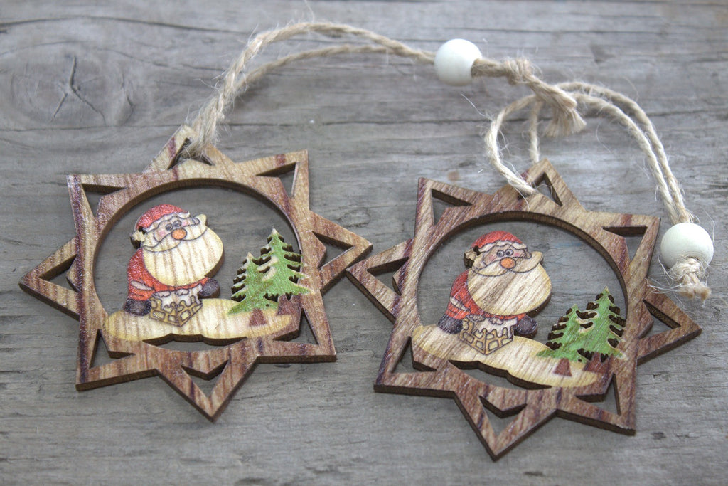Christmas Wooden Craft Decorations - Santa Star (Set of 2)