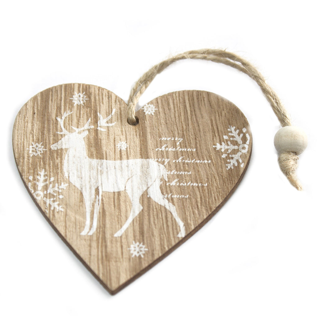 Christmas Wooden Craft Decorations - Reindeer Heart (Set of 2)
