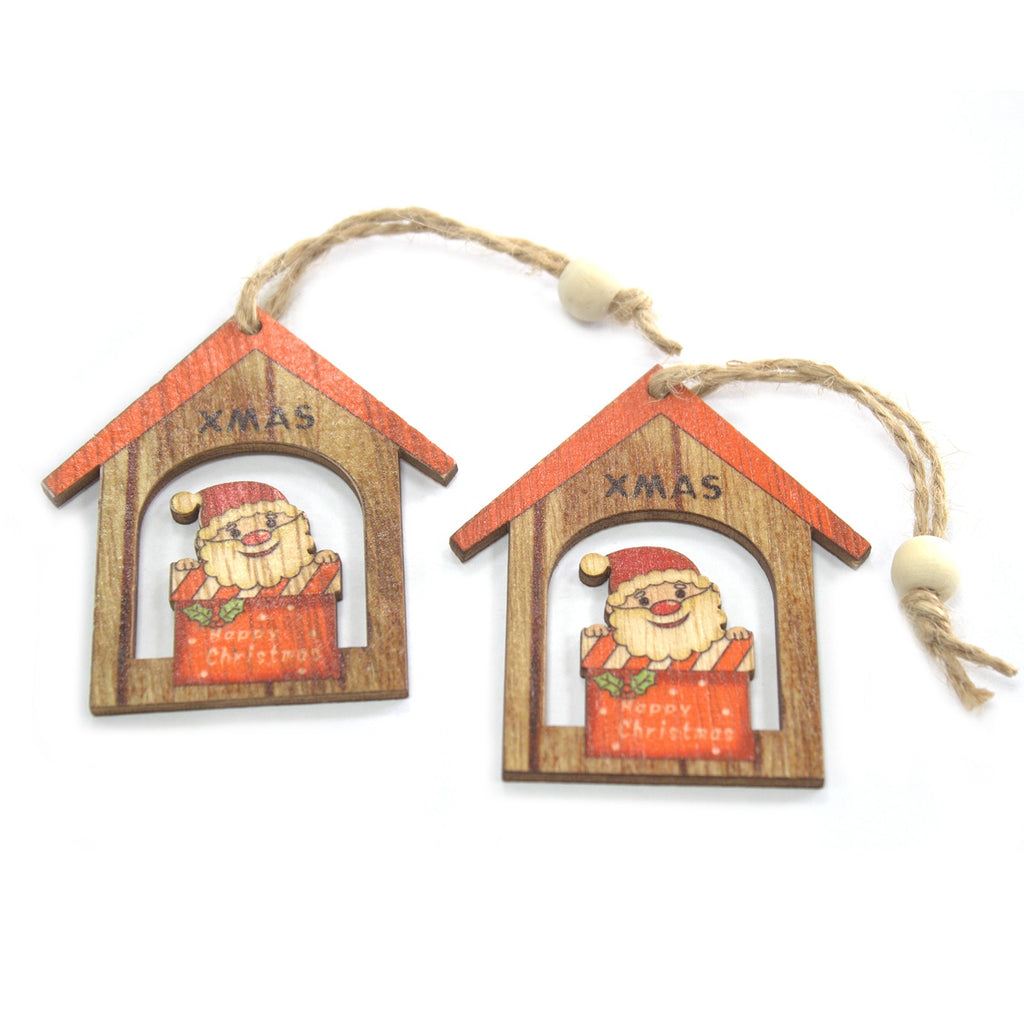 Christmas Wooden Craft Decorations - Christmas Santa Gift (Set of 2)