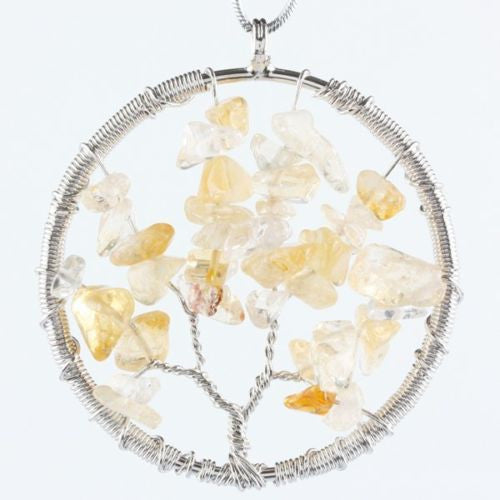 The Tree of Life Healing Natural Gemstone Pendant Necklace - Citrine