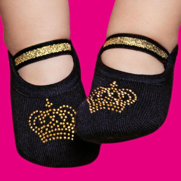 Embellished baby & toddler ballerinas, black with golden crown design