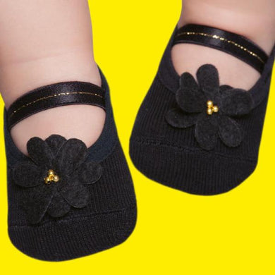 Embellished baby ballerinas, black flower