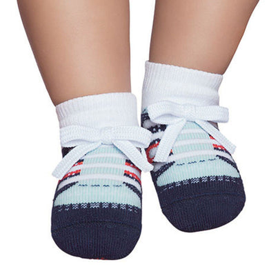 Embellished baby socks, tennis style, navy