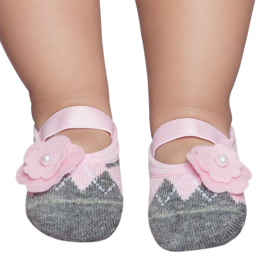 Embellished baby, toddler & kids ballerinas, grey & pink flower