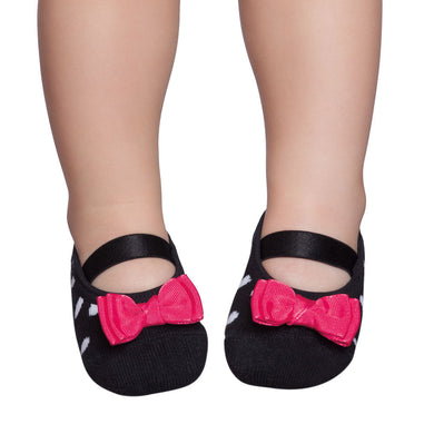 Embellished baby, toddler & kids ballerinas, black & white with red ribbon