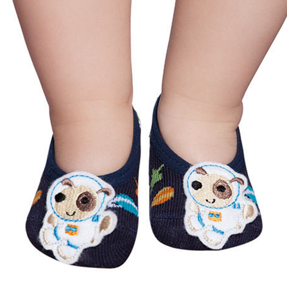 Embellished baby ballerinas, navy & puppy