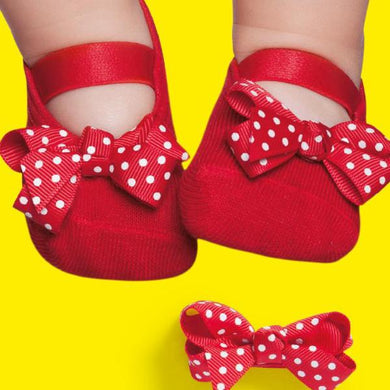 Set of embellished baby ballerinas and hair clip, red