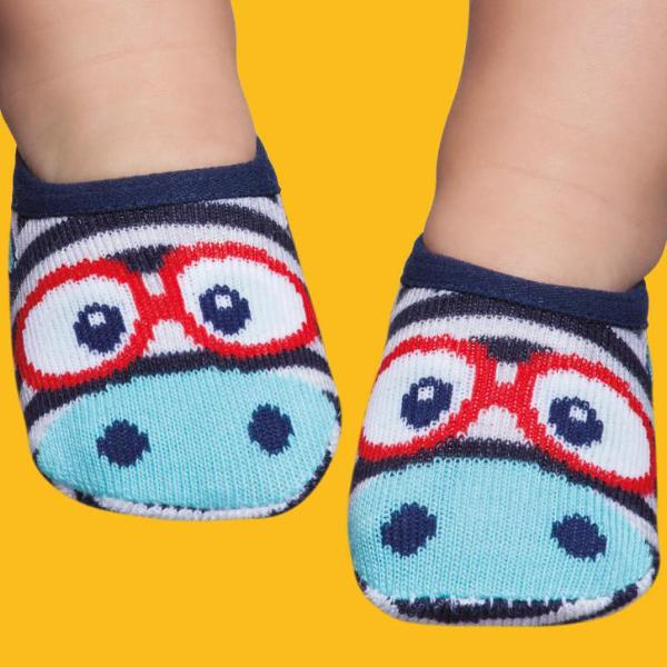 Basic baby socks, blue little face