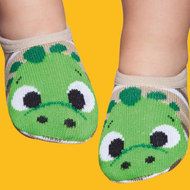 Basic baby socks, beige and green little face
