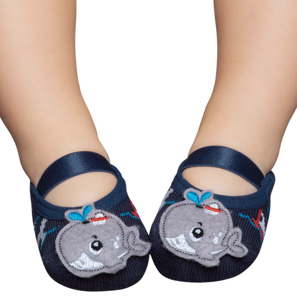 Embellished baby ballerinas, navy & little whale