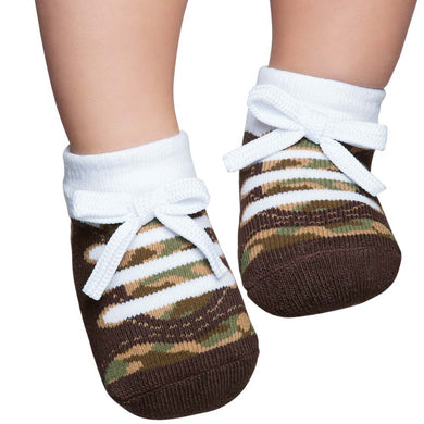 Embellished baby socks, tennis style, brown army