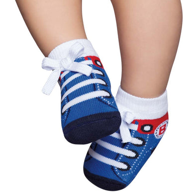 Embellished baby socks, tennis style, blue