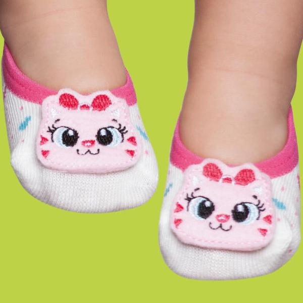 Embellished baby ballerinas, white & kitten