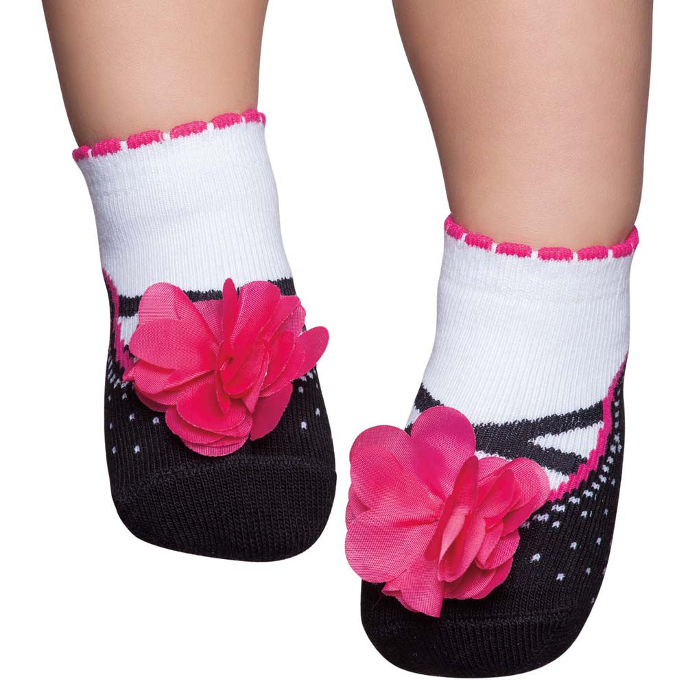 Embellished baby socks that look like shoes, black with pink flower