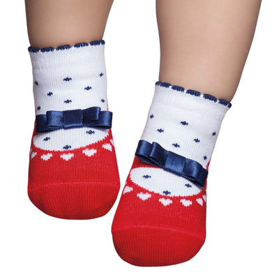 Embellished baby socks that look like shoes, red & white