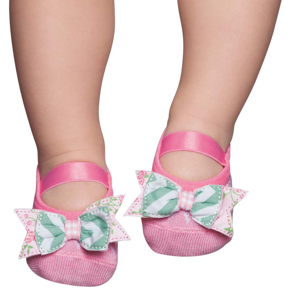Embellished baby ballerinas, pink & green bow