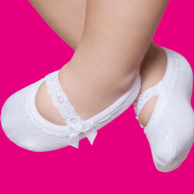 Embellished baby ballerinas, white lace