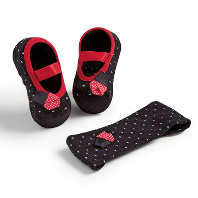 Set of embellished ballerinas and headband, black & red