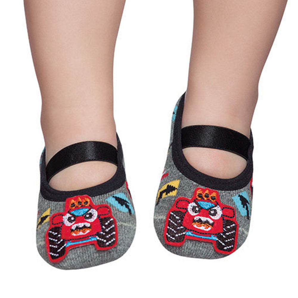 Embellished toddler ballerinas, grey tractor design