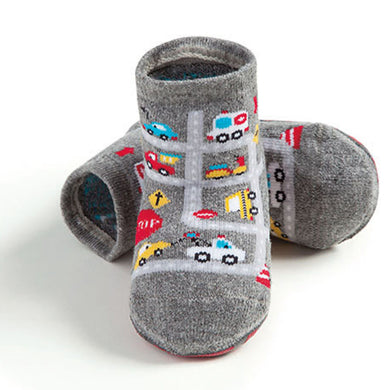 Basic toddler complete anti-slip socks, grey cross roads