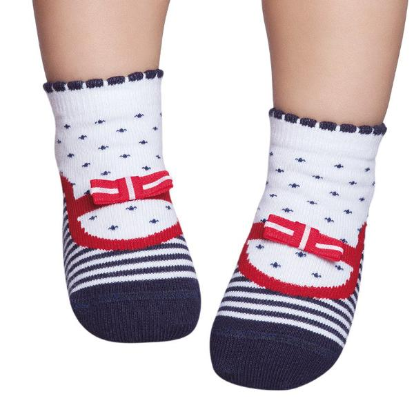 Embellished baby socks that look like shoes, navy stripes