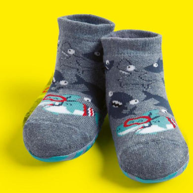 Basic toddler complete anti-slip socks, grey little sharks