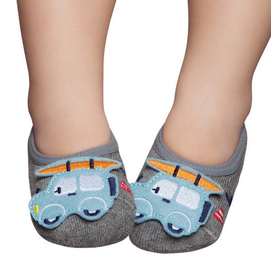 Embellished toddler ballerinas, grey with blue car