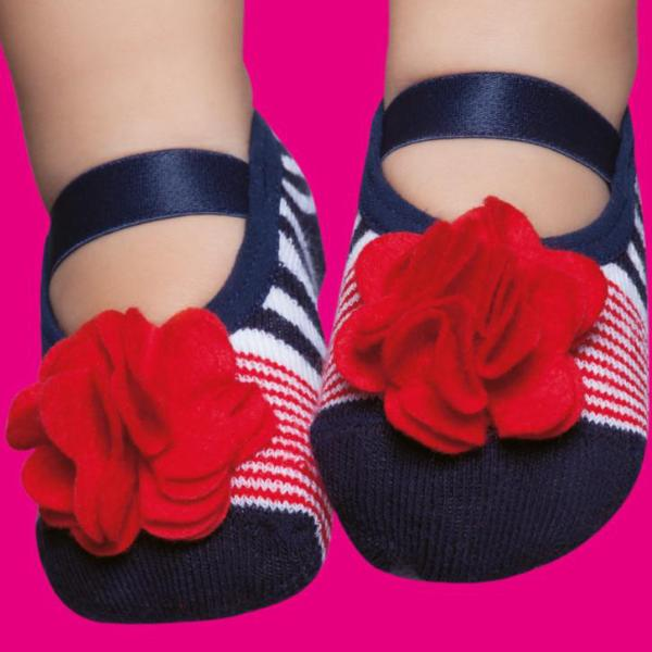 Embellished toddler ballerinas, navy & red