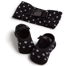 Set of embellished ballerinas and headband, black & white