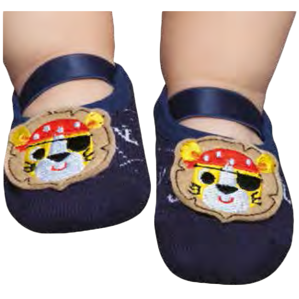Embellished toddler ballerinas, navy pirate design