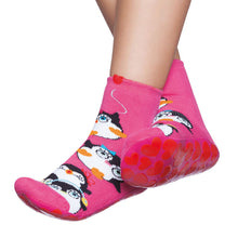 Basic kids complete anti-slip socks, hot pink & pinquins