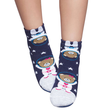 Basic kids complete anti-slip socks, navy & astronaut bear