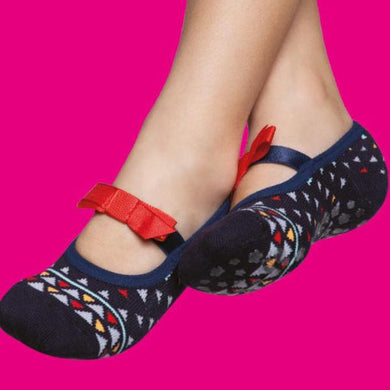 Embellished kids ballerinas, navy and red bow
