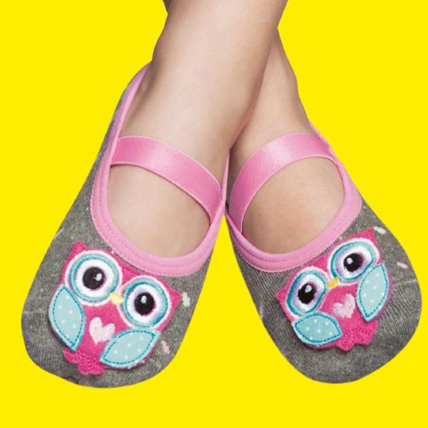 Embellished kids ballerinas, grey & pink owl design