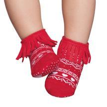 Embellished toddler complete anti-slip socks, red with fringe