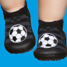 Baby & Toddler Moccasin, Black & Grey with Football Bootie