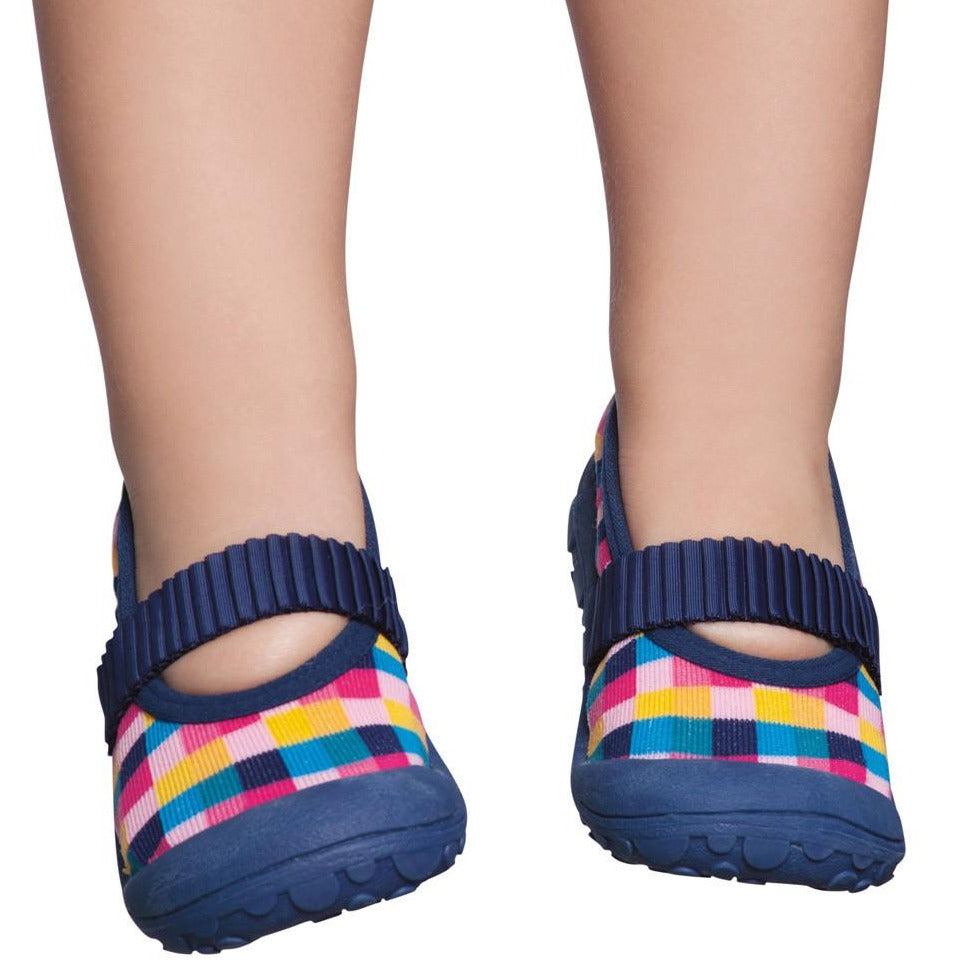Toddler Moccasin, Navy & Colours Check design