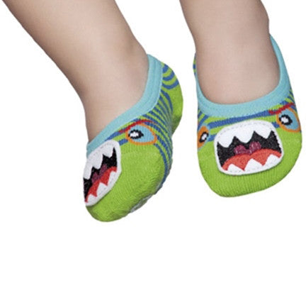 Embellished toddler ballerinas, green & blue little monster design