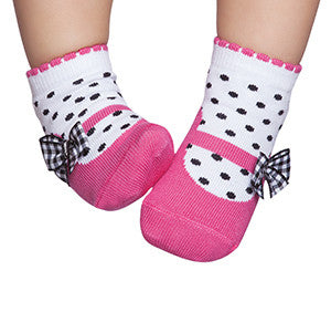 Embellished baby socks that look like shoes, hot pink & black bow