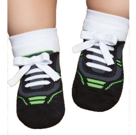 Embellished toddler socks, tennis style, black & green